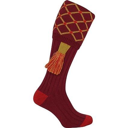Calcetines de caza con ligas Jack Pyke, estampado de rombos Rojo Burgundy/Gold Talla