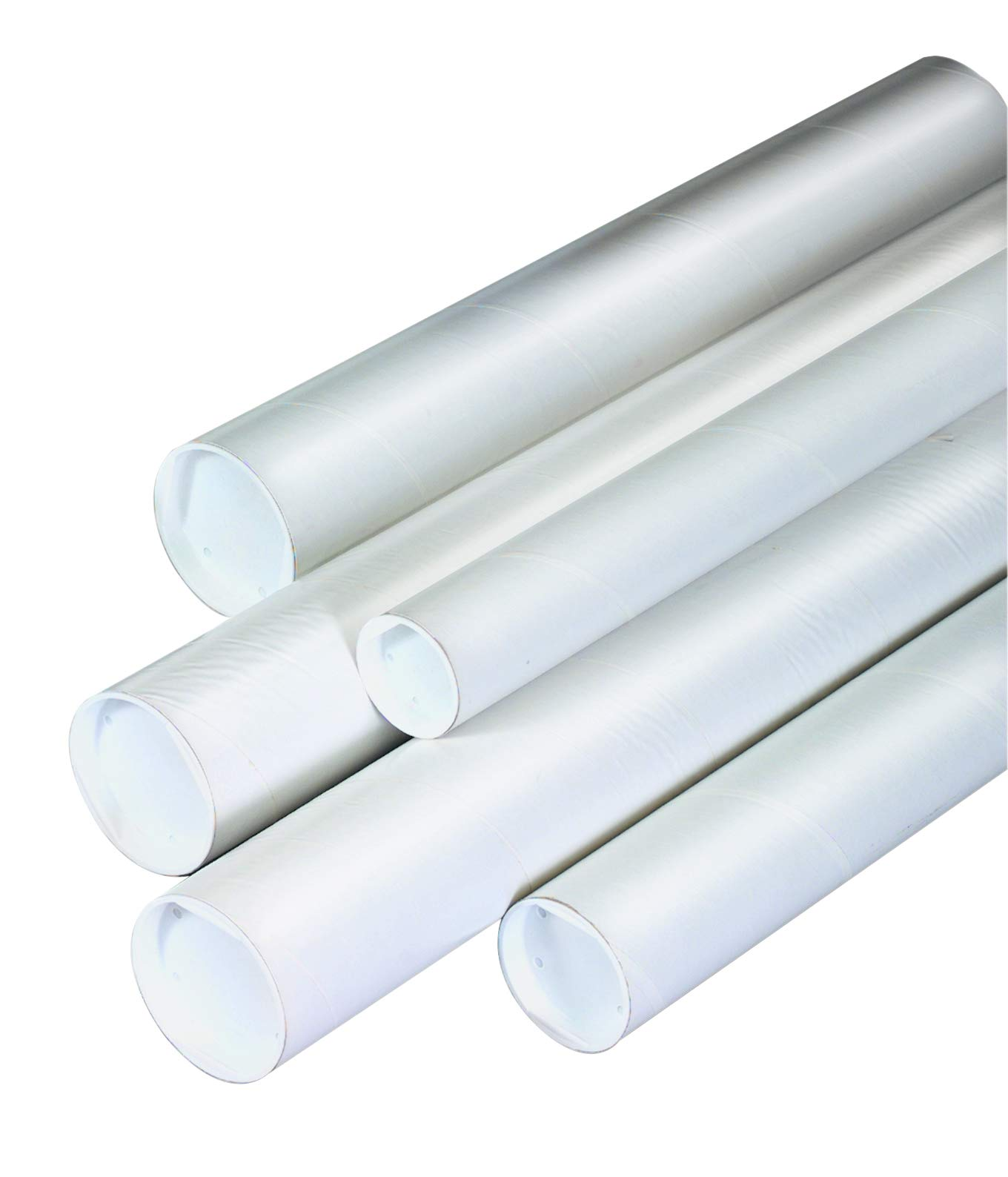 Aviditi P2524W Mailing Tubes with Caps, 2-1/2'' x 24'', White (Pack of 34) by Aviditi