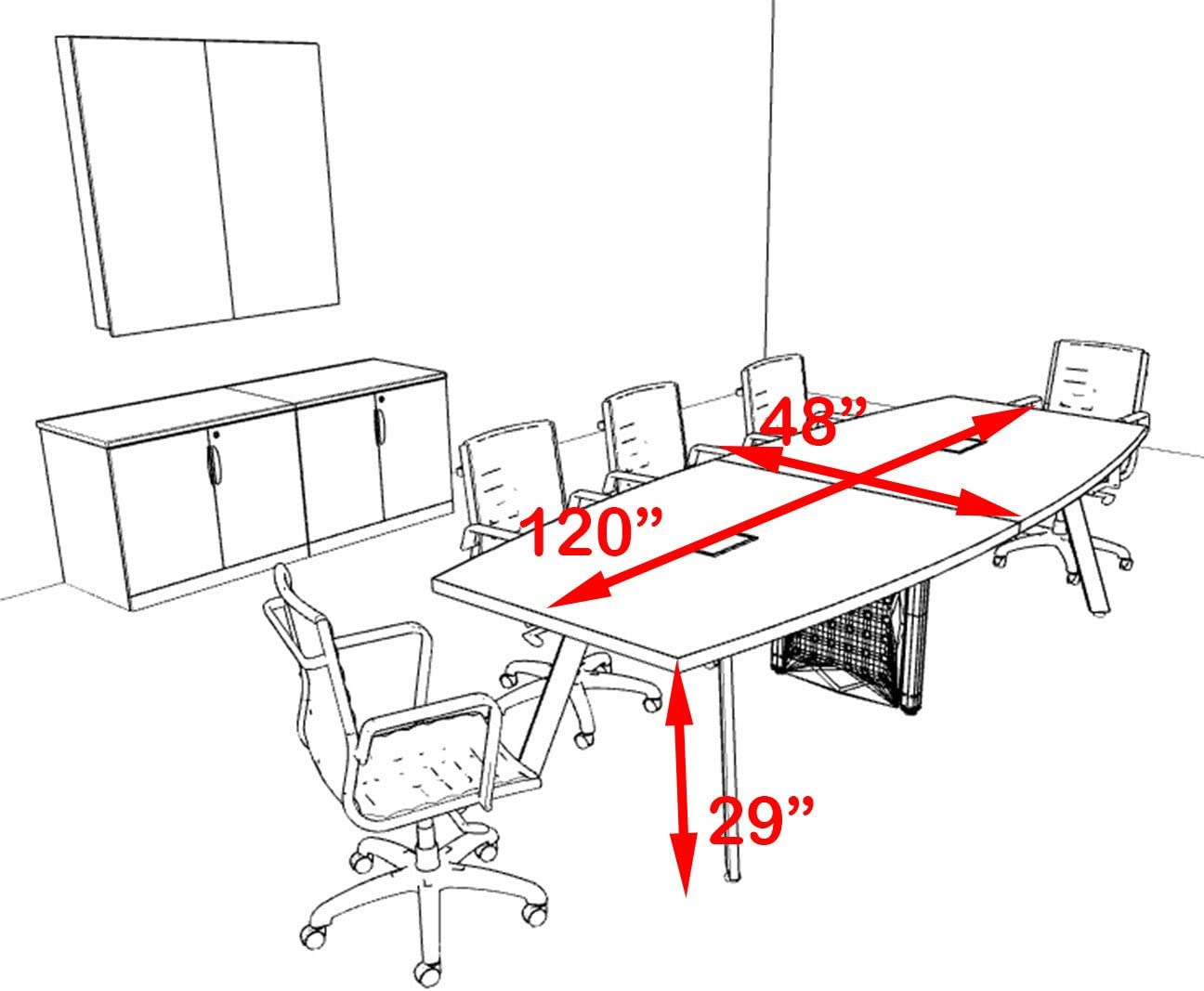 Modern Boat Shaped 10 Feet Conference Table OF-CON-CV14