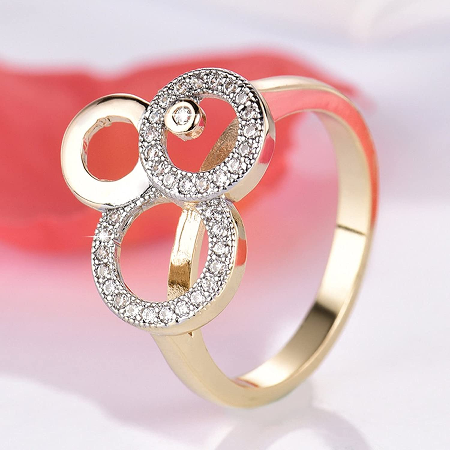 Amazon.com: F&T JEWEL Cute Miky Mouse Rings Gold-Color Zircon Ring ...