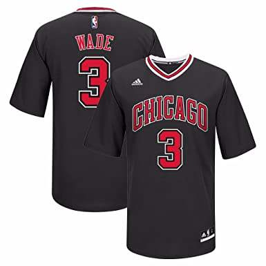 fbaecbc247f Image Unavailable. Image not available for. Color  adidas Dwyane Wade  Chicago Bulls NBA Youth Alternate Black Sleeves Replica Pride Jersey ...