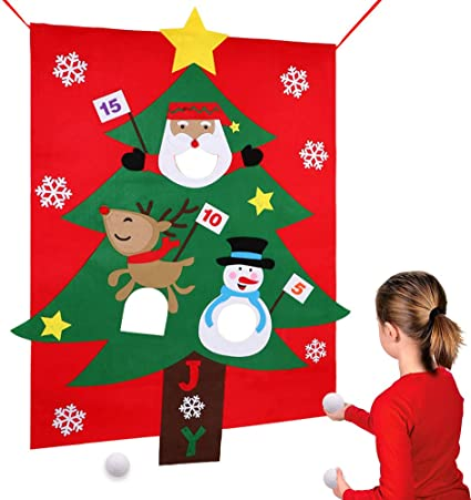"""38/"""" X 51/"""" Perfect Family Christmas Games for Holiday AerWo Christmas Party Games for Kids Santa Christmas Toss Games with 3 Snowballs"""