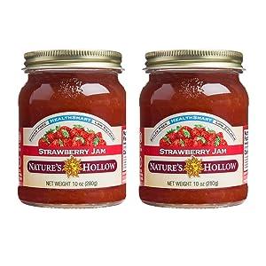 Nature's Hollow, Sugar-Free Strawberry Jam Preserves, 10 Ounces Each, Non GMO, Keto Friendly, Vegan and Gluten Free - 2 Pack