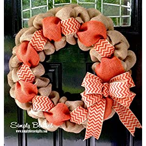 Orange Chevron Burlap Wreath - 22 inch for front door or accent - outdoor or indoor 114