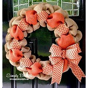 Orange Chevron Burlap Wreath - 22 inch for front door or accent - outdoor or indoor 112