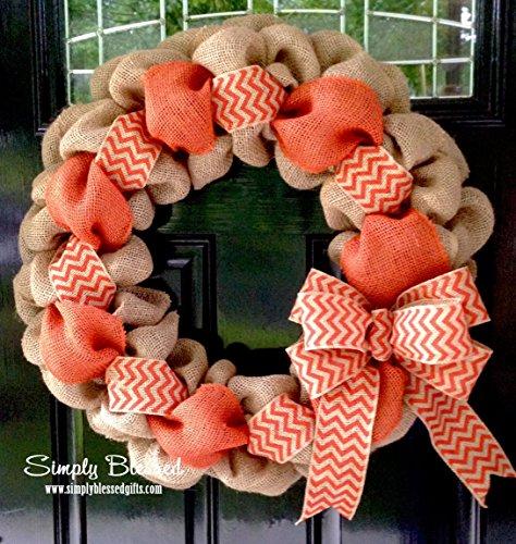 Orange Chevron Burlap Wreath - 22 inch for front door or accent - outdoor or indoor ()
