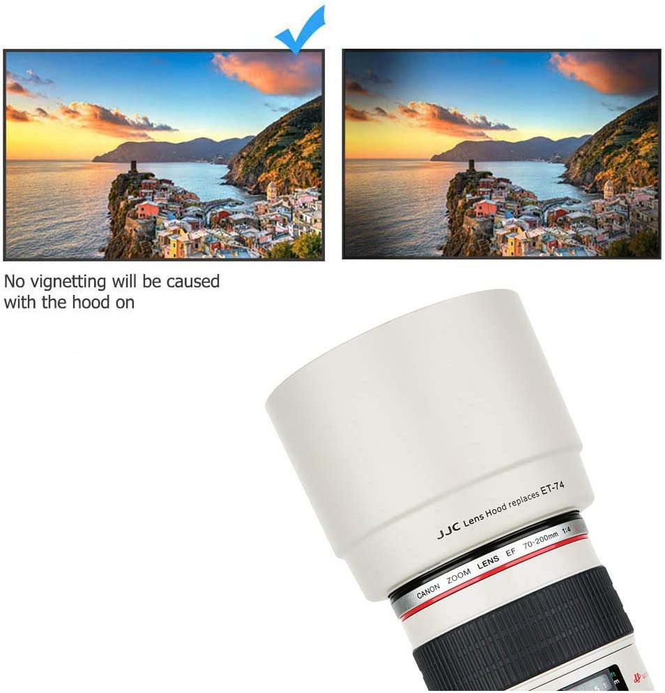 Camera Lens Hood Shade for Canon EF 70-200mm f//4L is USM Lens Replaces Canon ET-74 Lens Hood Reverse Attaching White