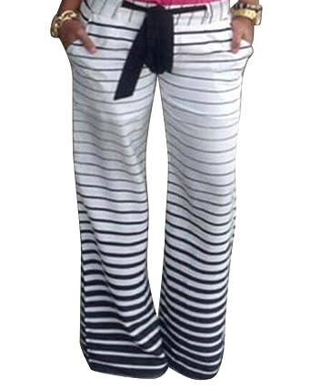 Moollyfox Et Large Jambe Noir Femmes Décontracté Blanc Pantalon Rayé wFwBrS