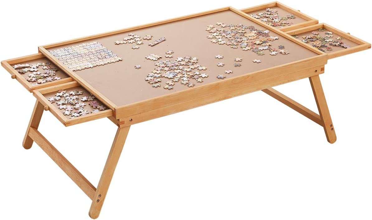 """Puzzle Board, 34"""" x 26"""" Puzzle Table for Adults and Teens, Puzzle Boards and Storage Puzzle Wooden Plateau Lounger with Cover-Smooth Fiberboard Work Surface - Puzzle Storage System, Up to 1,500 Pieces"""