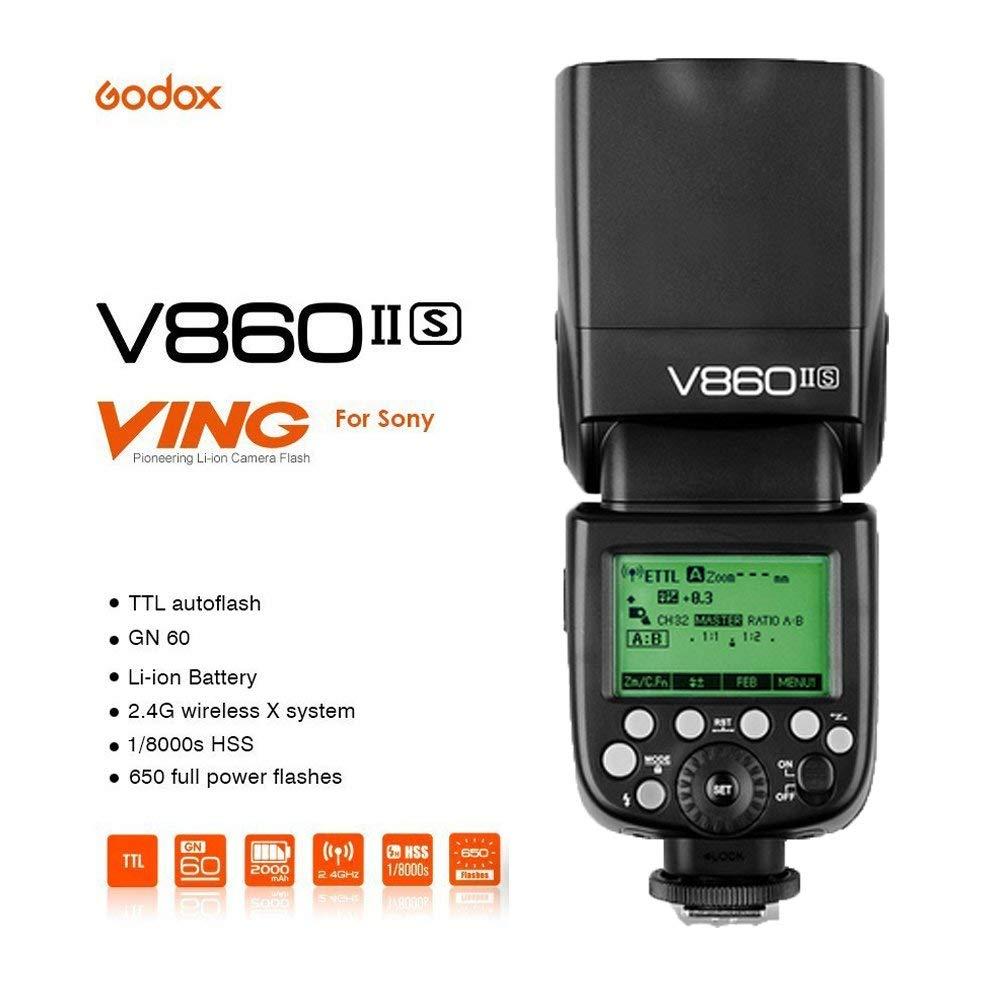 V860II-S+X1T-S Godox X1T-S Inalambrico Transmisor Disparador para Sony DSLR Camara Godox V860II-S 2.4G TTL HSS 1//8000s Li-Ion Bateria Camara Flash
