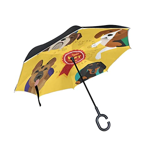 COOSUN Conjunto de diferentes razas de perro de doble capa del paraguas invertido inversa para el