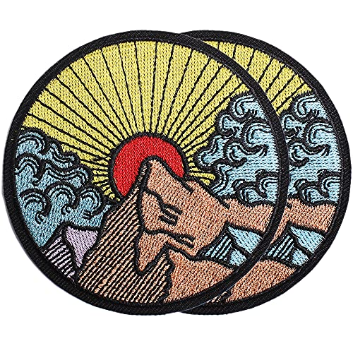 Harsgs Sunrise in The Mountain Patch Embroidered Applique Badge Iron on /Sew on Patches Emblem Patch DIY Accessories, Perfect for Clothes, Dress, Hat, Jeans, Pack of 2