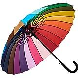 Rainbow Umbrella, Rainbow Umbrella Large, Compact, Windproof, Auto Open, 24K Rainbow Umbrella for Kids, Girls, Women…