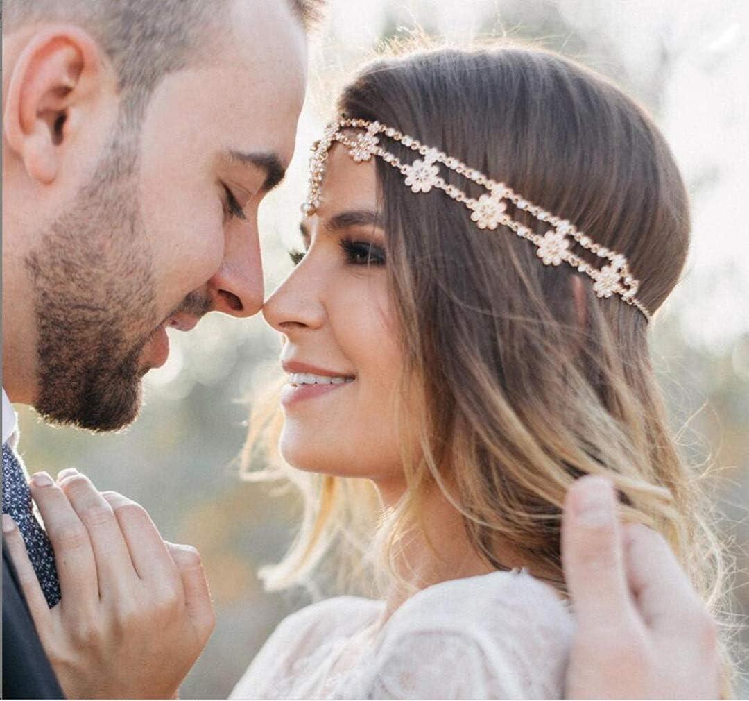 colore: oro rosa per Halloween stile vintage Chargances boh/émien Fascia per capelli da sposa con cristalli matrimonio