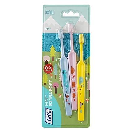 TePe Mini – Set de 3 cepillos de dientes extra suaves – Cepillo de dientes para
