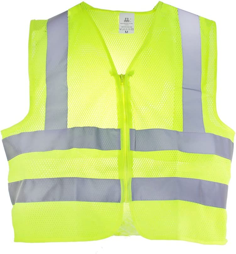 TR Industrial Neon Yellow Safety Vest OSHA Approved Size XXL Front Zipper Mesh