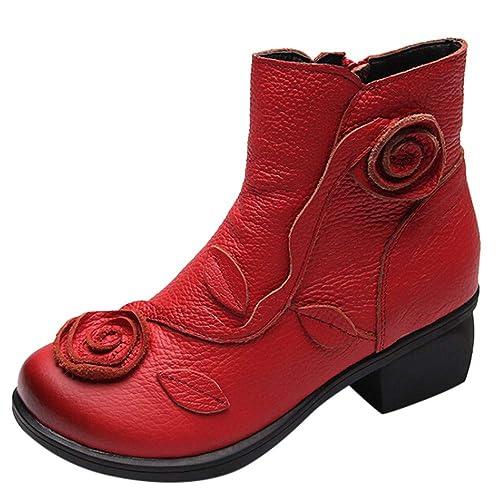 Ansenesna Stiefeletten Damen Leder Mit Absatz Schwarz Vintage Boots Frauen Blockabsatz Elegant Reißverschluss Schuhe