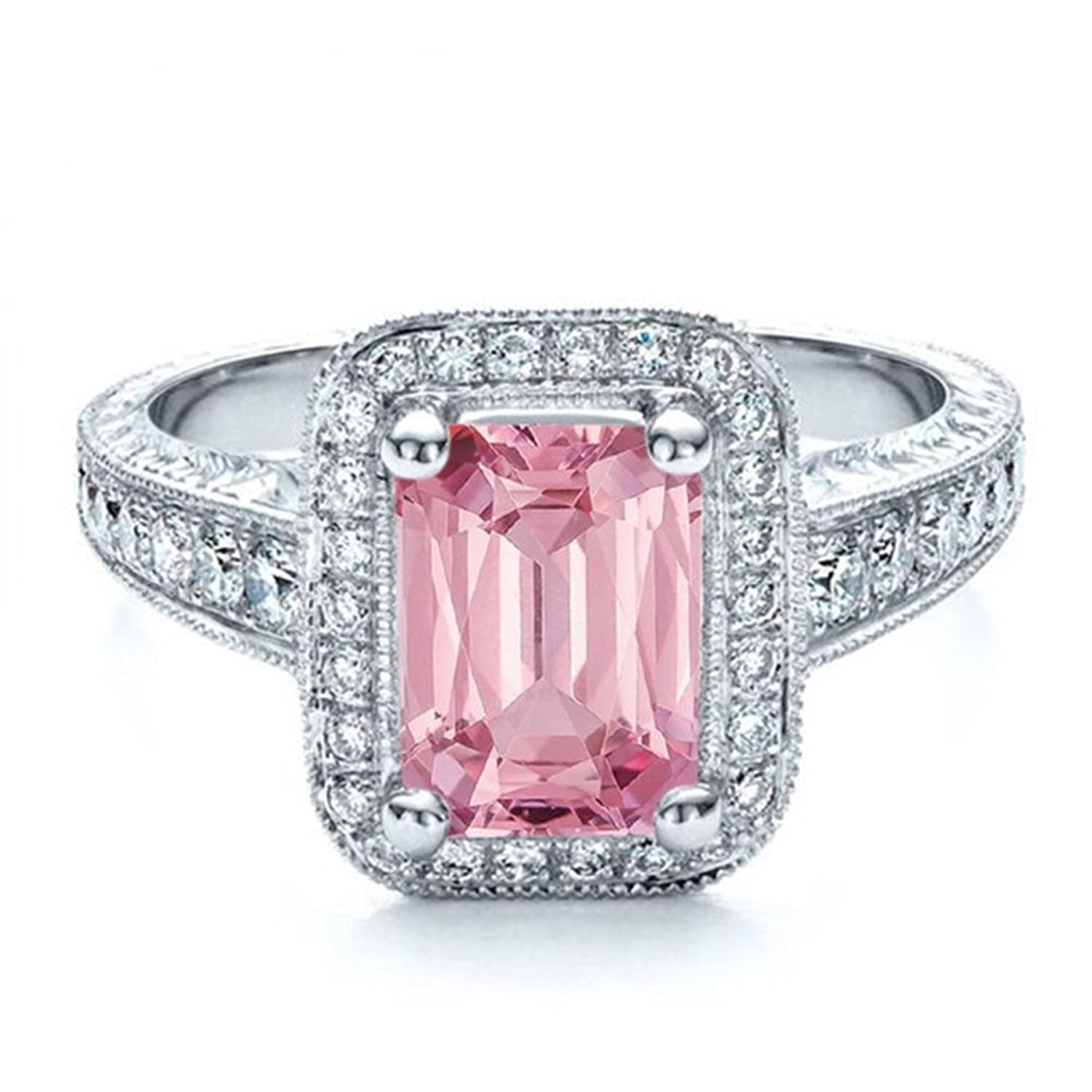 Amazon.com: TVS-JEWELS Simulated Diamond Solitaire With Accents Ring ...