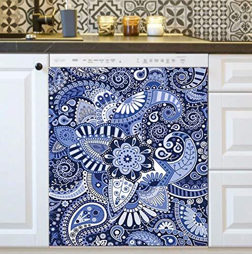 Folk Bohemian Mandala Magnet Dishwasher Cover,Boho Refrigerator Magnetic Cover,Kitchen Decorative Mandala Flower Decal Cover,Fridge Door Sticker,Washing Machine Decals Home 23