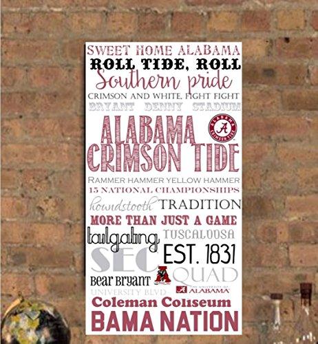 University of Alabama / Roll Tide/ Alabama/ Crimson Tide/ Tuscaloosa, AL Subway Art Canvas Print- can customize by PicturePerfectbyJody