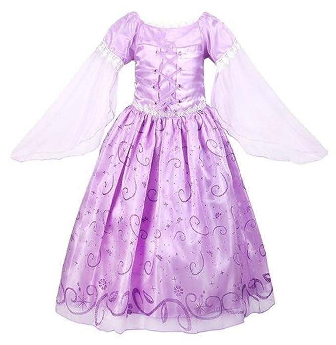 GenialES Disfraz de Vestido Princesa Púrpura Largo Lindo con Mangas ...