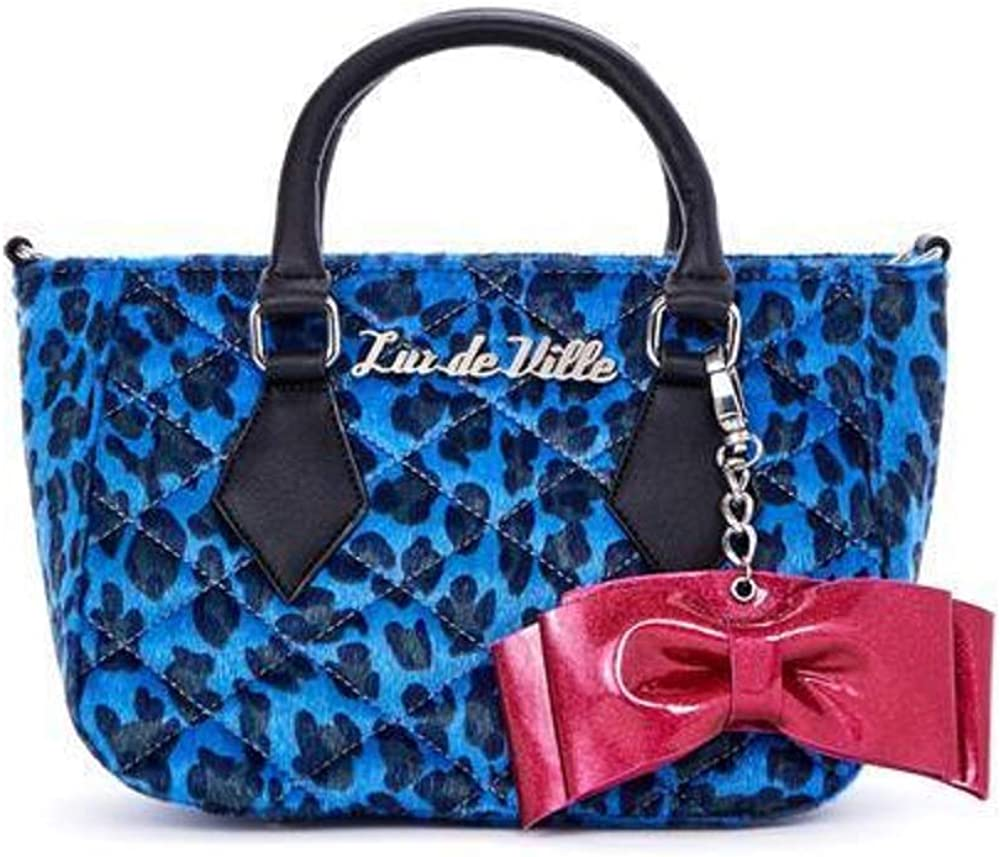 Lux De Ville Mini Sweet Pea Tote Limited Edition Blue Leopard