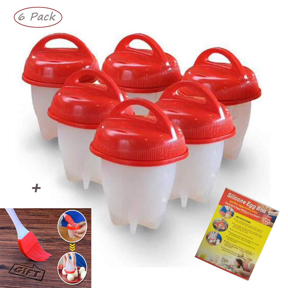 Egglettes Egg Cooker Hard Boiled and Soft Maker, Non Stick Silicone, Egg Maker Poachers As Seen on TV Shock Egg Cups Set Tools without the Shell, BPA Free,Steamer (Pack of 6 pieces) Best Deal Goods Hard Boiled Egg Maker