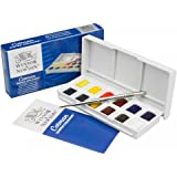 Winsor & Newton Cotman Water Colour Paint Special Edition Set - 12 Half Pans including 1 Artist's Quality Colour and Travel Brush