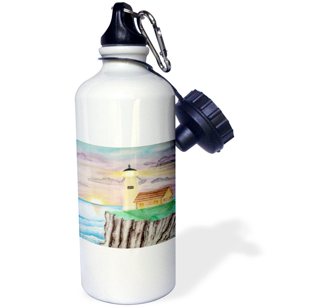 21 oz 3dRose wb/_14403/_1 Candlelight of The Sea Sports Water Bottle White