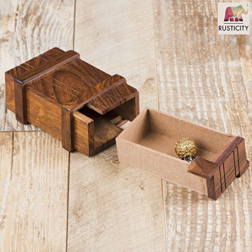 Rusticity Wooden Toy Play Box / Magic Box Puzzle Brain Teaser Box / Magic  Wooden Box with Secret Drawer | Handmade | (4x2 5 in)