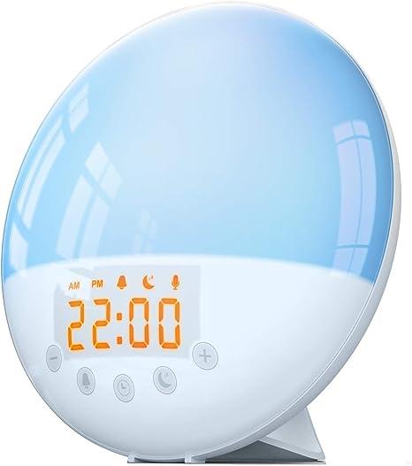 COOLWEST LED Wake Up Licht mit Sonnenaufgang Simulation//Snooze//5 Naturger/äuschen// 3 Helligkeitsstufen RGB Nachtlicht Nachttischlampe f/ür Erwachsene und Kinder Lichtwecker