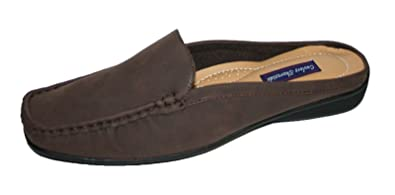 Ladies Shoreside Faux Nubuck Leather Slip On Mule Loafer Shoes Sizes 4 - 8 WD_1043