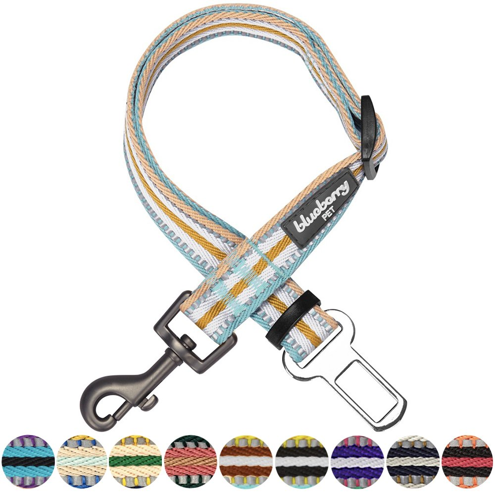 Blueberry Pet New 3M Reflective Multi-colored Stripe Adjustable Dog Seat Belt Tether for Dogs Cats, Pastel Blue and Beige, Durable Safety Car Vehicle Seatbelts Leads Use with Harness