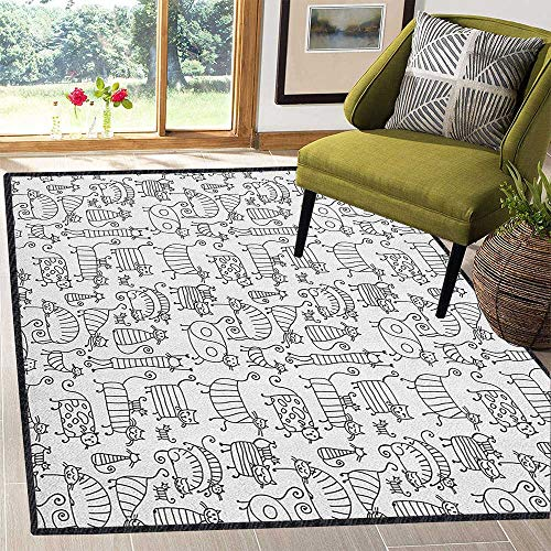 (Doodle Modern Abstract Area Rug,Cute Kids Kitten Cat Hand Drawn Animal Love Baby Caricature Playroom Nursery Design Easy Clean Stain Resistant Black White 67