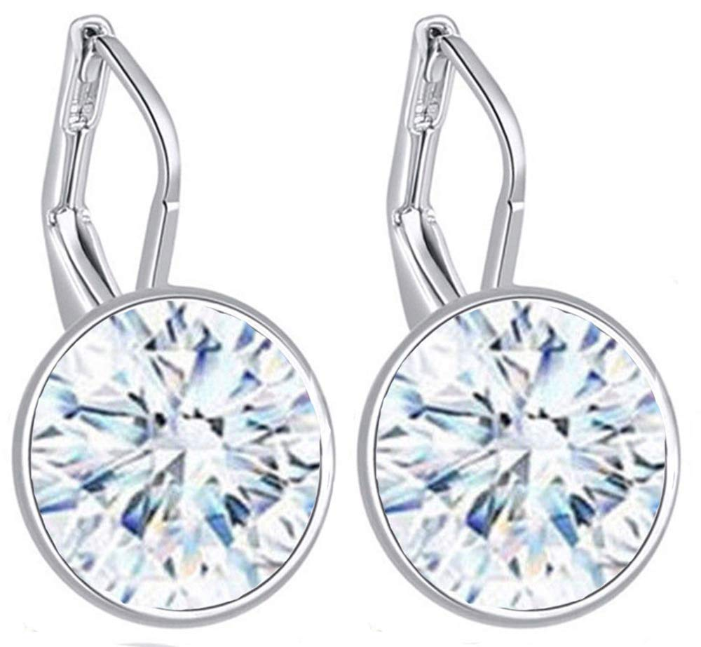 VPKJewelry Love Large Leverback Drop Bella Earrings Crystal from Swarovski 3 Times Gold Plated (Clear White)