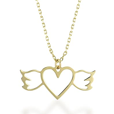 Gelin gold 14 ct yellow gold winged heart pendant necklace for women gelin gold 14 ct yellow gold winged heart pendant necklace for women a perfect gift aloadofball Gallery