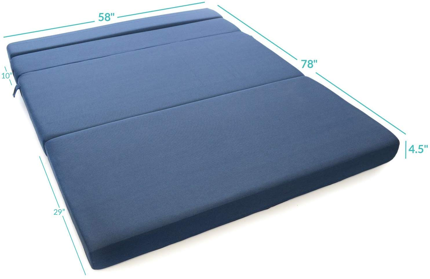 Milliard Tri-Fold Foam Folding Mattress and Sofa Bed for Guests Queen 78x58x4.5 Inch