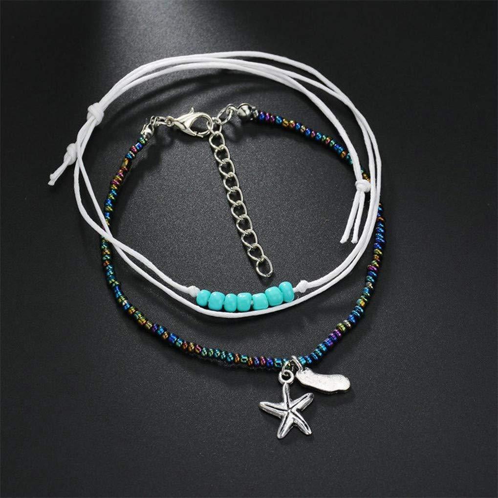 Conch Eleusine Ethnic Foot Jewelry Anklet for Women Bohemian Resin Bead Bracelet Beach Yoga Sea Turtle Anklet Pendant