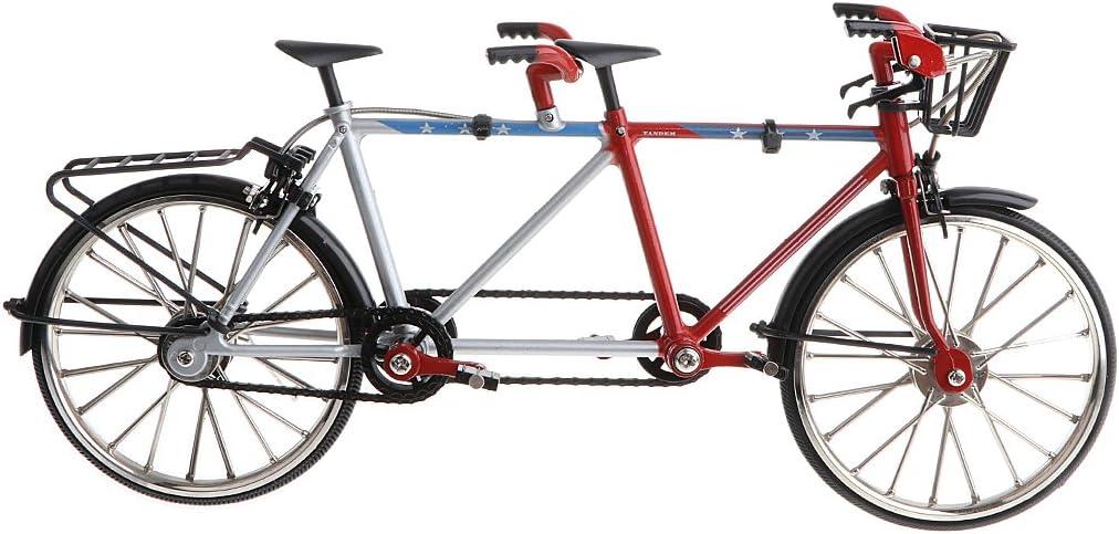 Juguete Infantil Modelo de Bicicleta Tándem de Carrera con Freno Negro en Miniatura Colecciones Adorno de Hogar a Escala 1/10