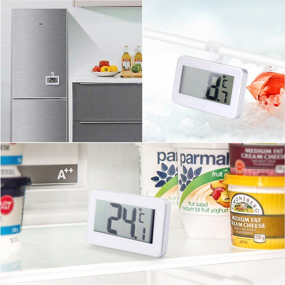 Eocean refrigerator thermometer digital freezer digital wireless thermometer for refrigerators with alarm refrigerator freezer thermometer small refrigerator thermometer alarm refrigerator wir