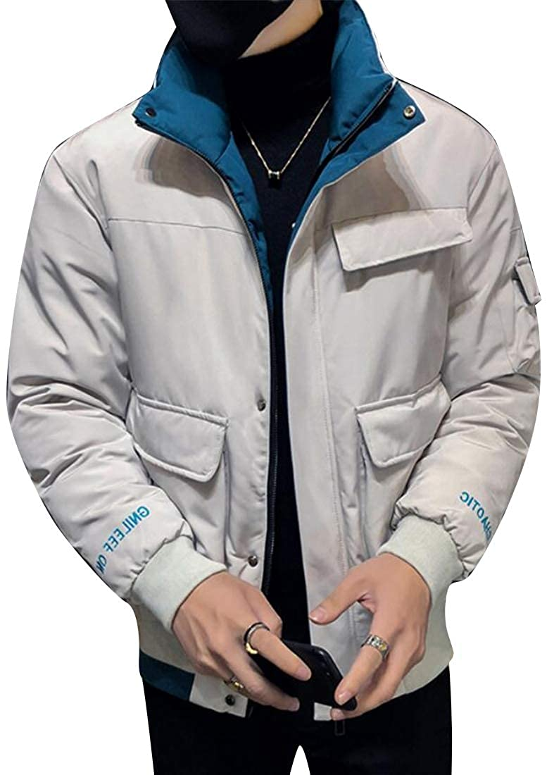 Fubotevic Men Warm Winter Cotton Casual Slim Stand Collar Zip Front Down Parka