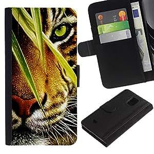 Billetera de Cuero Caso Titular de la tarjeta Carcasa Funda para Samsung Galaxy S5 Mini, SM-G800, NOT S5 REGULAR! / Tiger Jungle Forest Rainforest Eye Feline / STRONG