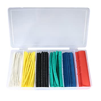 uxcell 100pcs 21 heat shrink tubing tube sleeving wrap cable wire 6 color 6