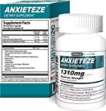 ANXIETEZETM -Ease Stress & Anxiety- 60ct Capsules - MAXIMUM STRENGTH FORMULA (1-60ct Box) Promotes Calm & Recuperative Sleep at Night w/ Controlled Focus and Positive Mood Enhancement During the Day