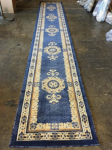 Traditional Long Persian Runner Rug Light Blue Design #121 (32 Inch X19 Feet 8 Inch ) by Carpet Kings