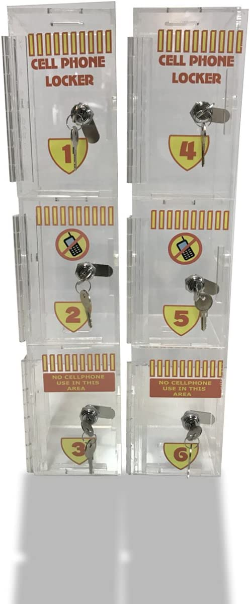 New Wall Mounted Acrylic Cell Phone Locker/Cell Storage - 2 Set