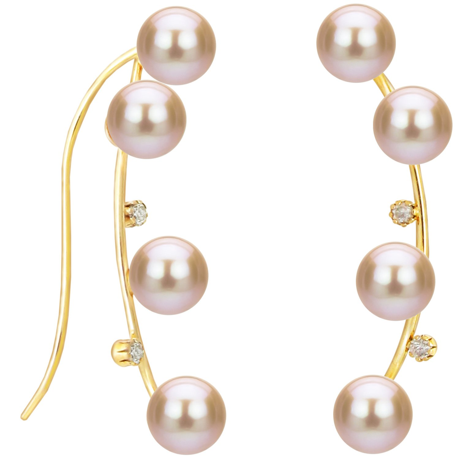 14k Yellow Gold .04tcw Diamond 4-4.5mm Pink Freshwater Cultured Pearl Crawler Earrings