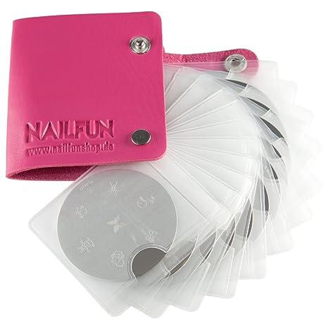 12 x KONAD Stamping Schablone + NAILFUN Aufbewahrungstasche Mäppchen in pink