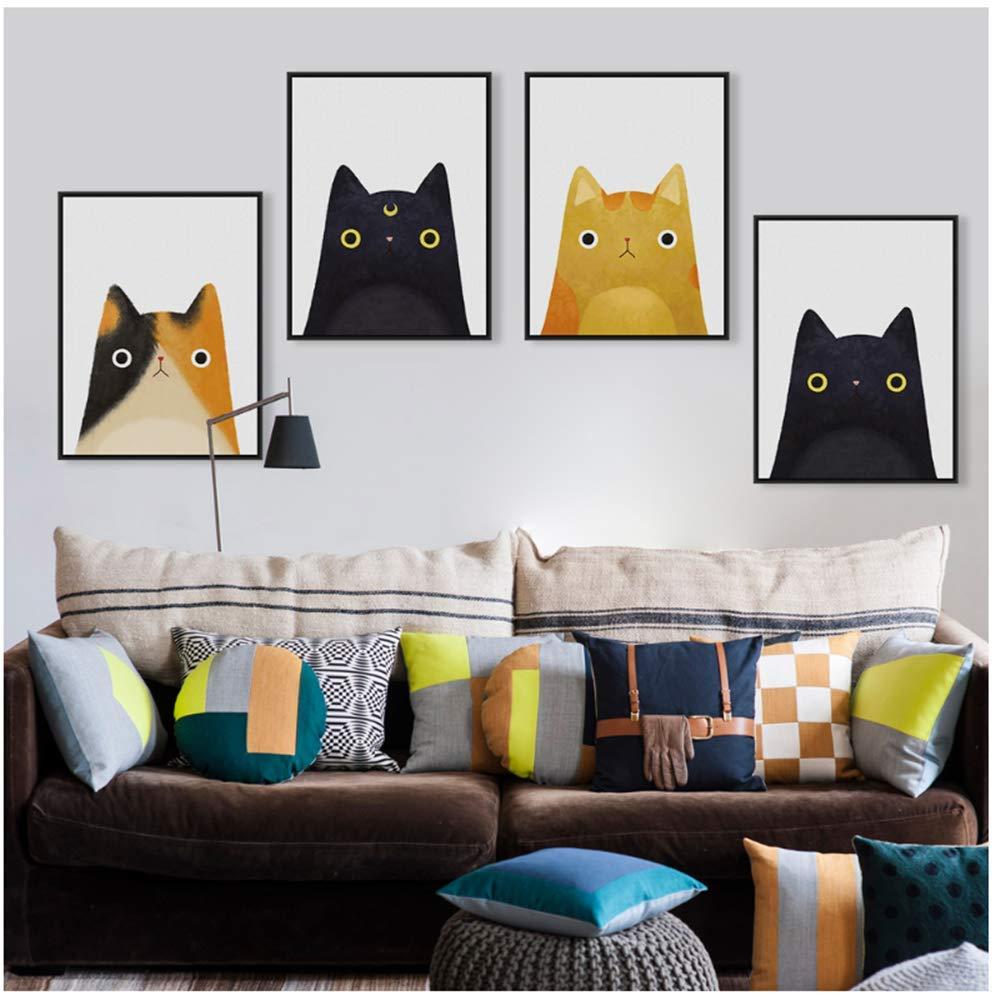 Acuarela moderna Hermosa cara de gato A4 Impresión de póster ...