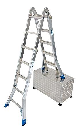LEI572 Escalera Articulada Telescópica sin Extension de los Pies, 4 X 5 Peldaños, 5.2 m / 2.6m / 1.5 m Altura: Amazon.es: Industria, empresas y ciencia